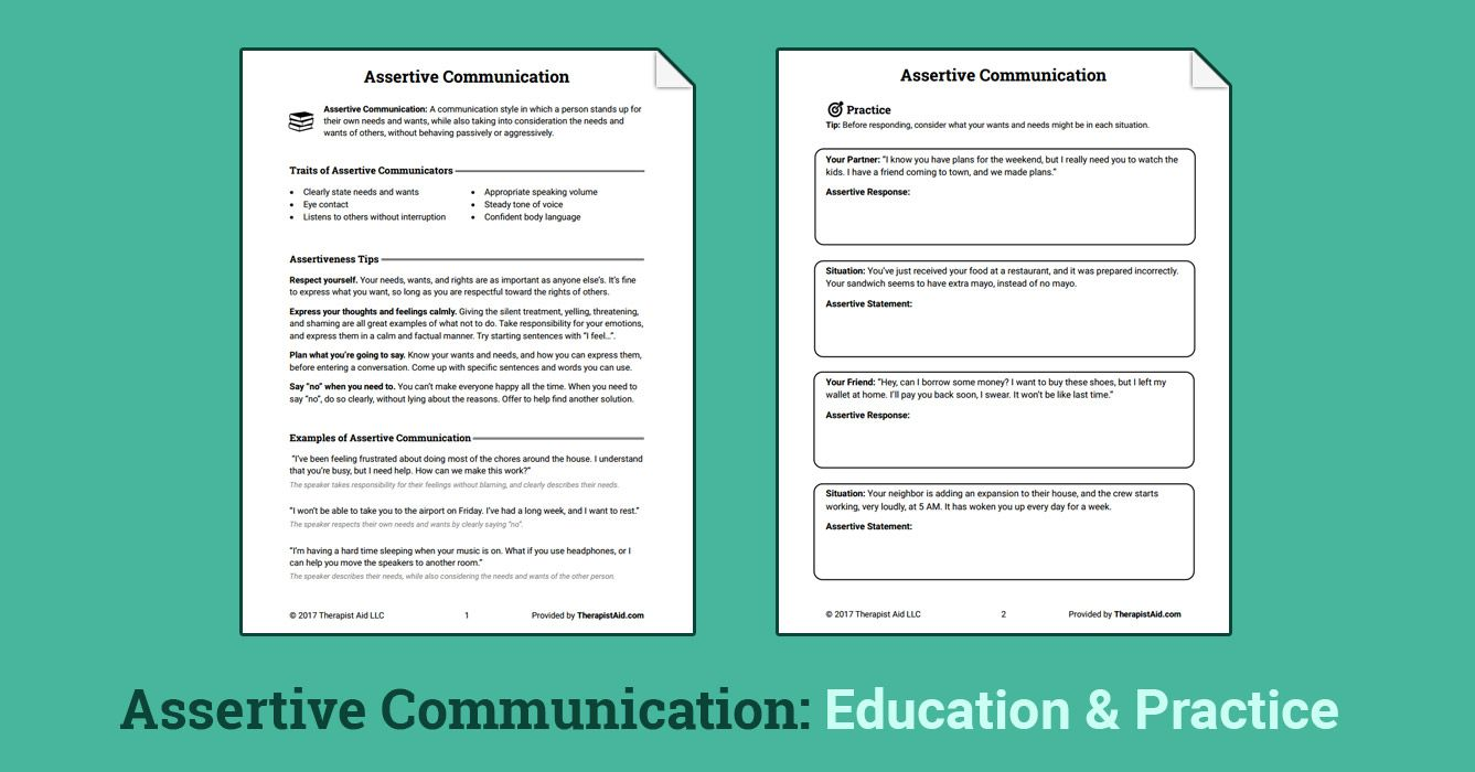 Assertive Communication (Worksheet | Psico | Pinterest