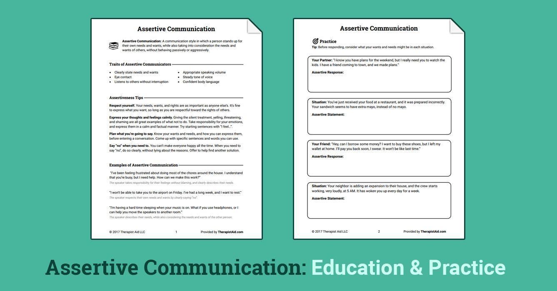 Assertive Communication Worksheet Ideas For Work