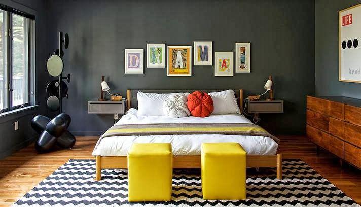 Quarto simplista em tons de amarelo e cinza chumbo (Acordei Fashion)  Decor