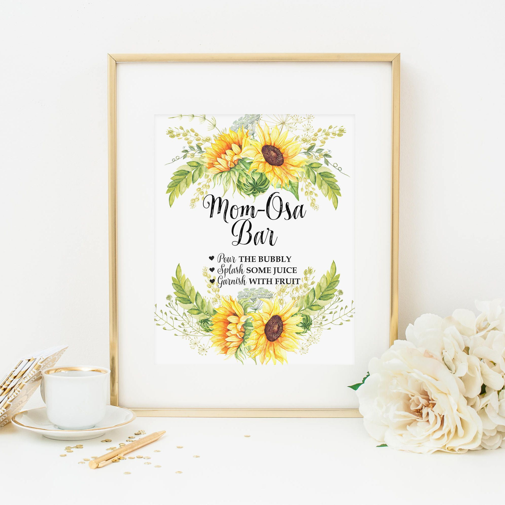 sunflower mimosa bar printable mom osa drink table sign baby shower
