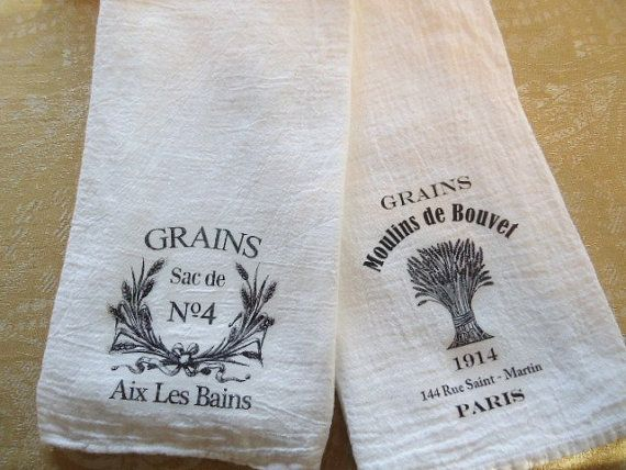 Vintage Grains French Print Kitchen Towel Set by Jolietote on Etsy, $16.00
