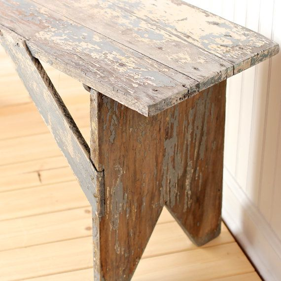 Lovely Rustic Vintage, Antique, Wood Farmhouse Bench Or Coffee Table, $112.00
