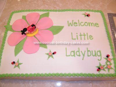 ladybug baby shower cake  double layer half sheet cake. wasc cake, Baby shower invitation