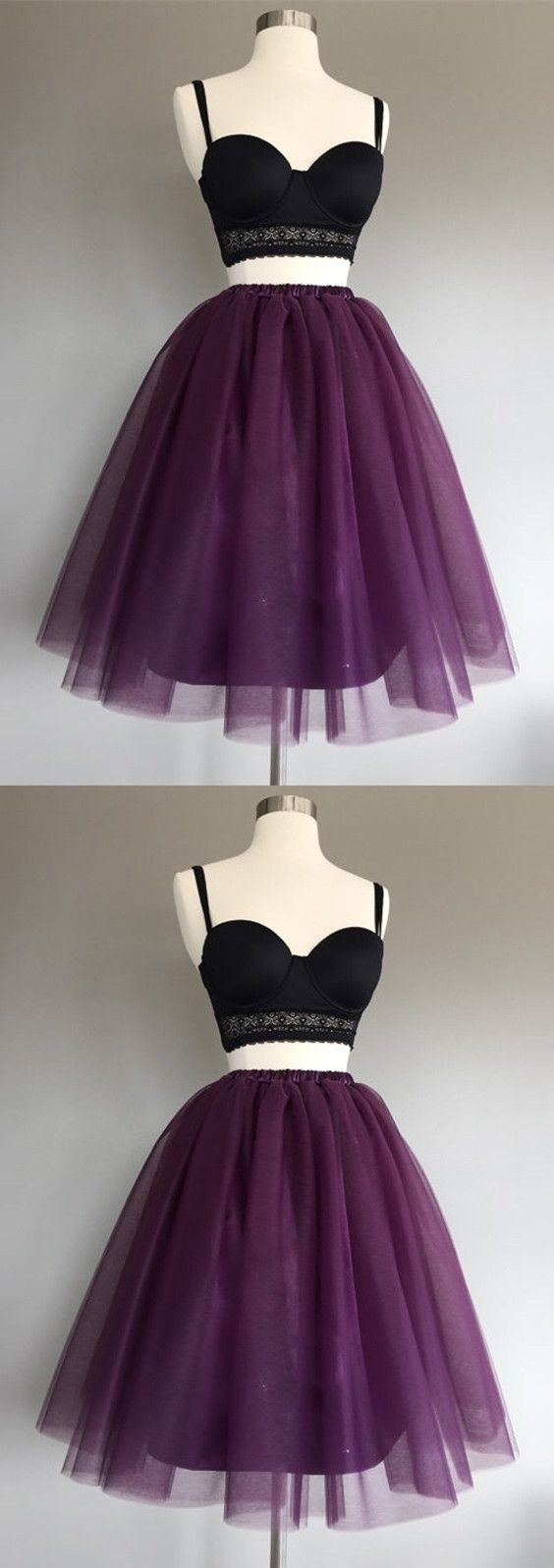 Two piece spaghetti straps grape tulle short homecoming dress