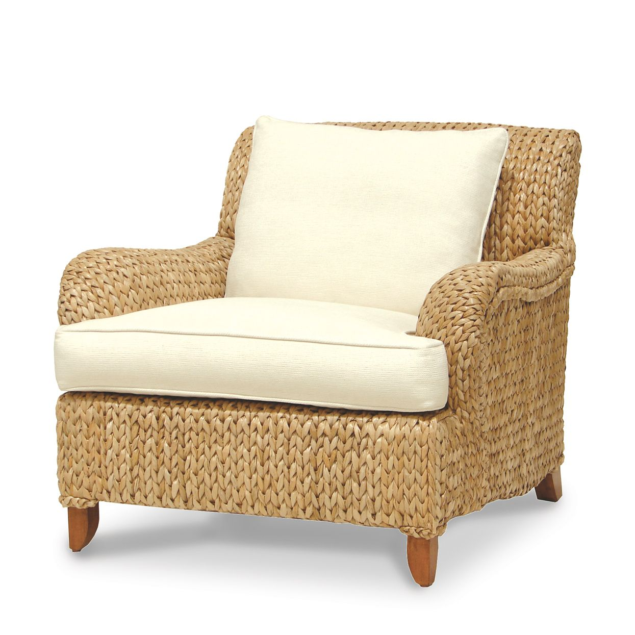 Go Green With Wicker Seagrass Furniture: Cozy Seagrass Furniture Armchair  With White Slip Covers