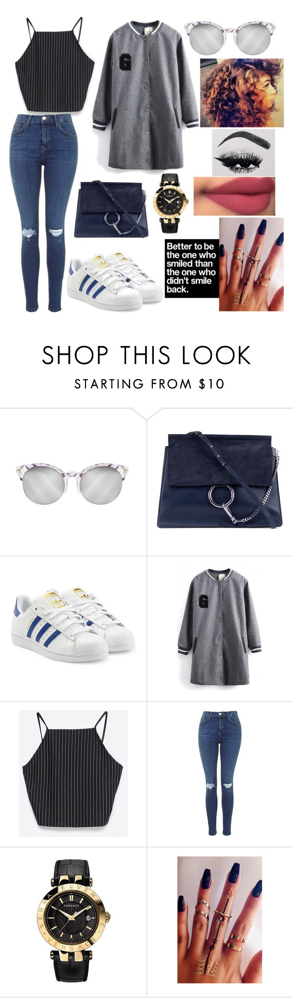"""""""Untitled #252"""" by rebeccamcruzofficial ❤ liked on Polyvore featuring Chloé, adidas Originals, Zara, Versace and Americanflat"""