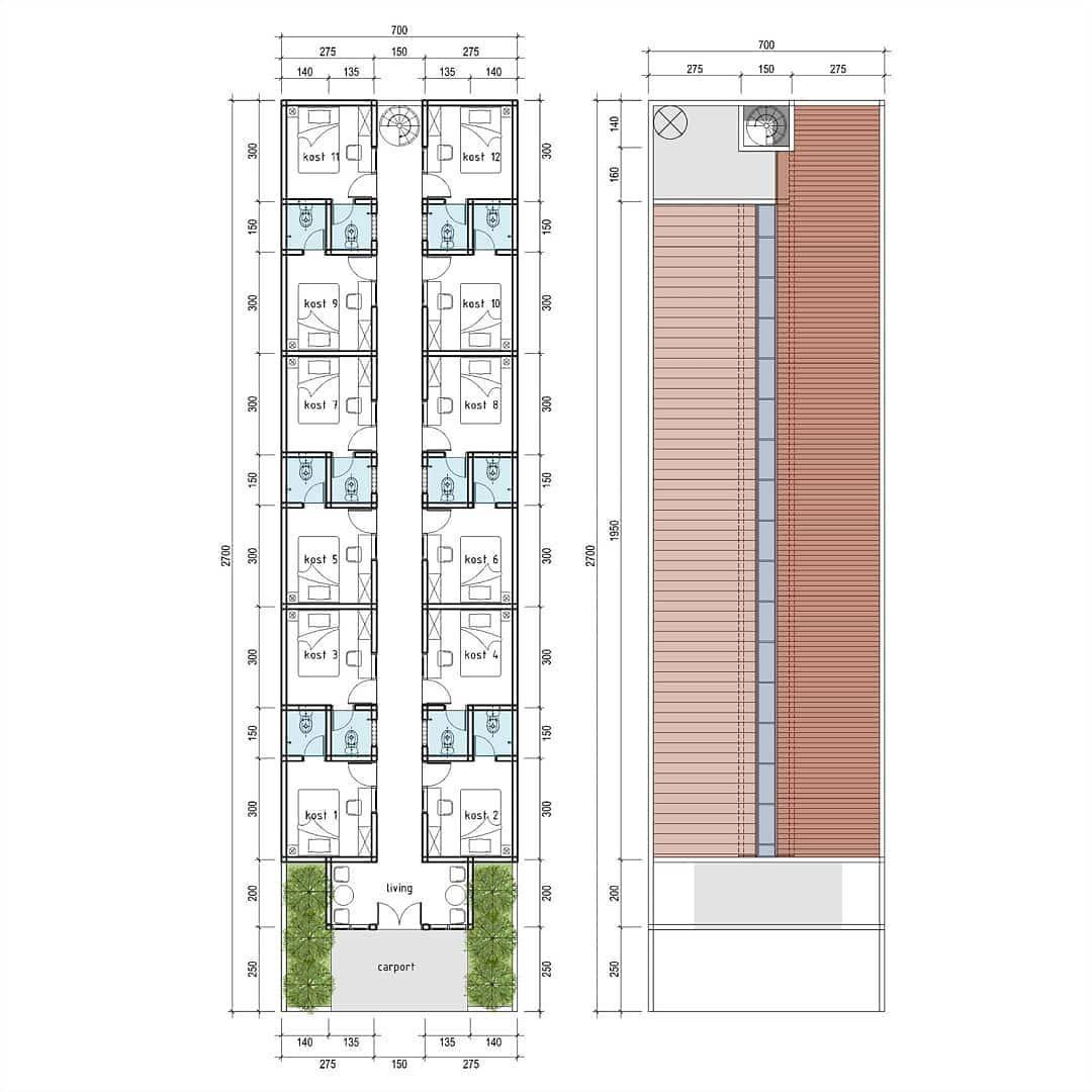 Idedenahrumah On Instagram Tempat Kost Di Lahan 7 X 27 M Good Design For Everyone With Affordable Price Desain Ide Asrama Denah Lantai Rumah Desain