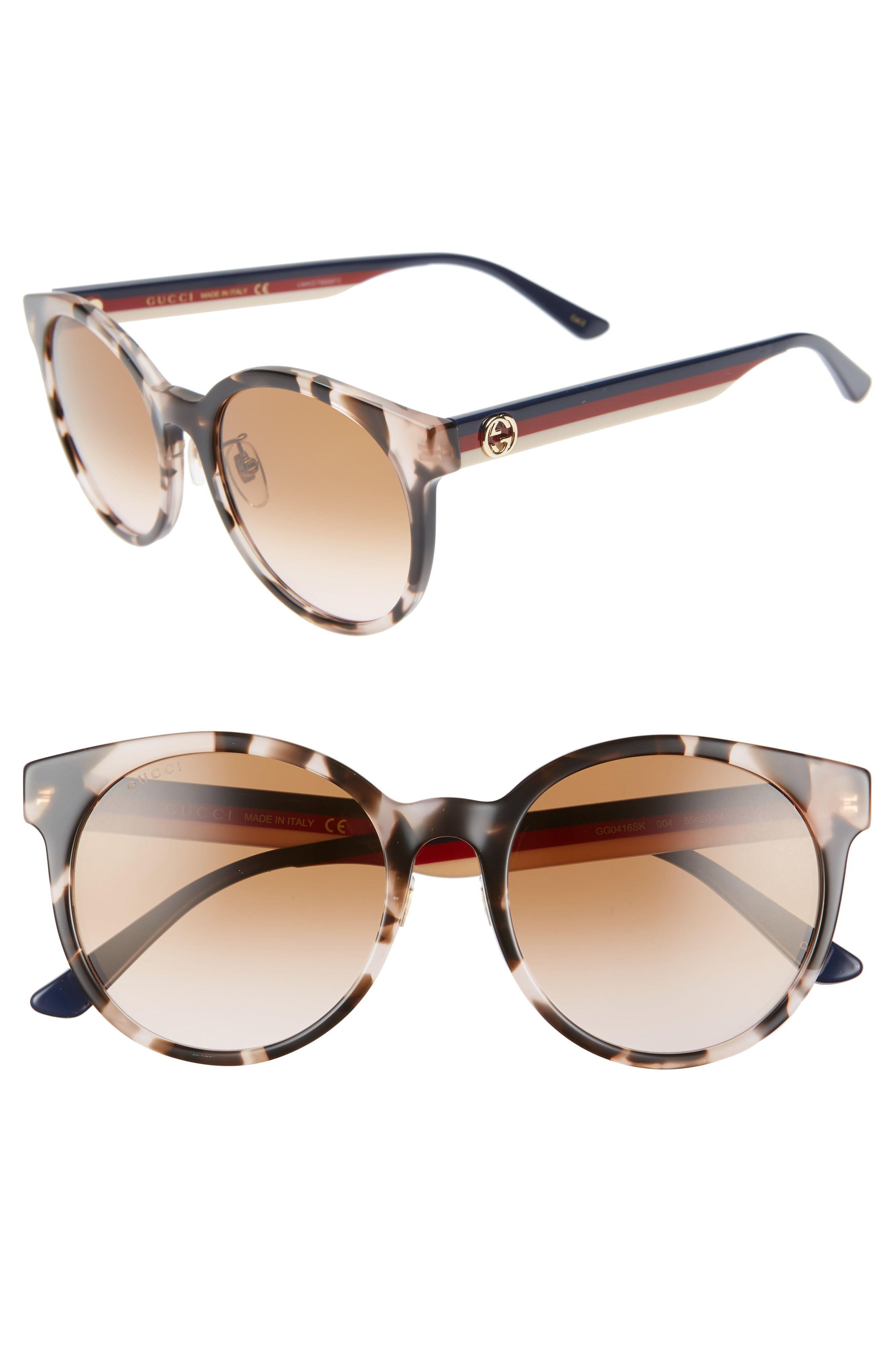 e9f6f62bb Women's Gucci 55Mm Round Sunglasses - Black/ Multi/ Grey Gradient in ...