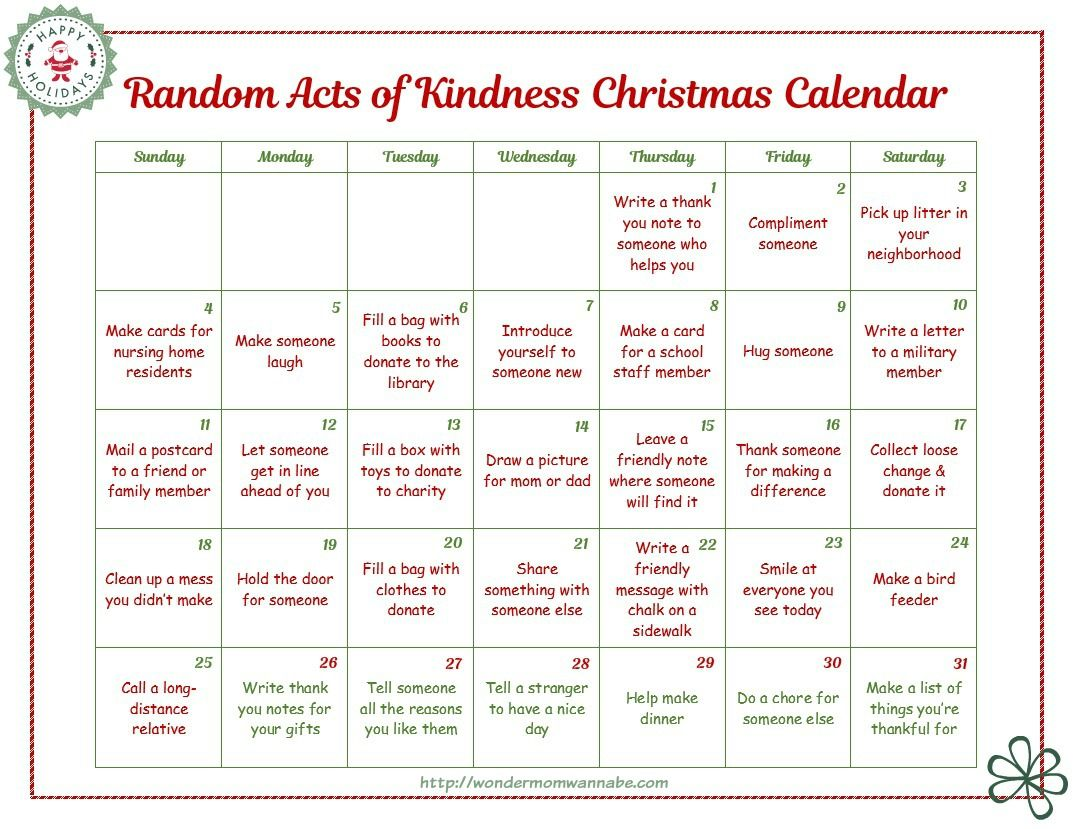This Random Acts Of Kindness Calendar Is A Fun And Easy Way To Instill Kind Habits In Children