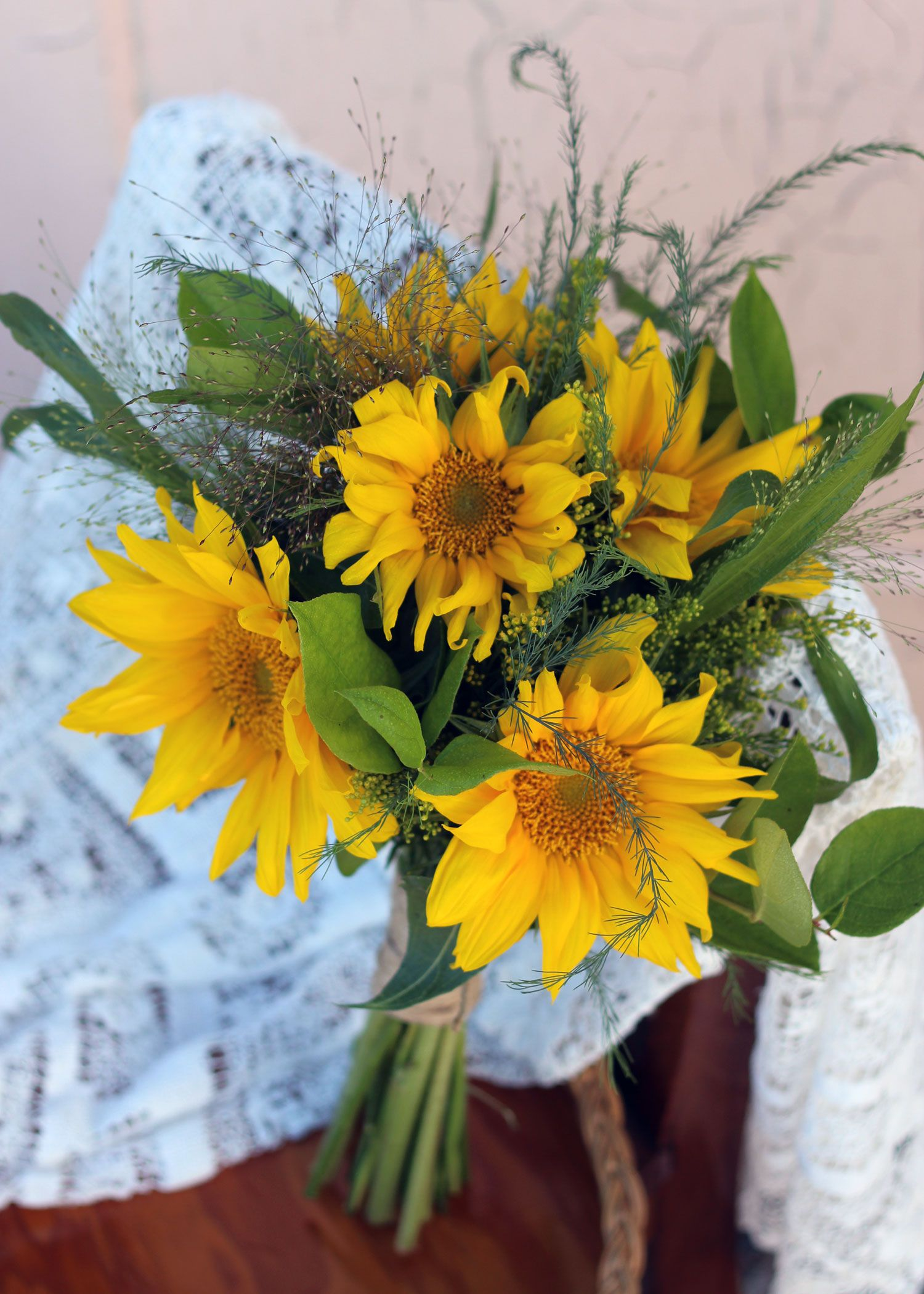 Late July. Bridesmaids Bouquet. Sunflowers with green ...