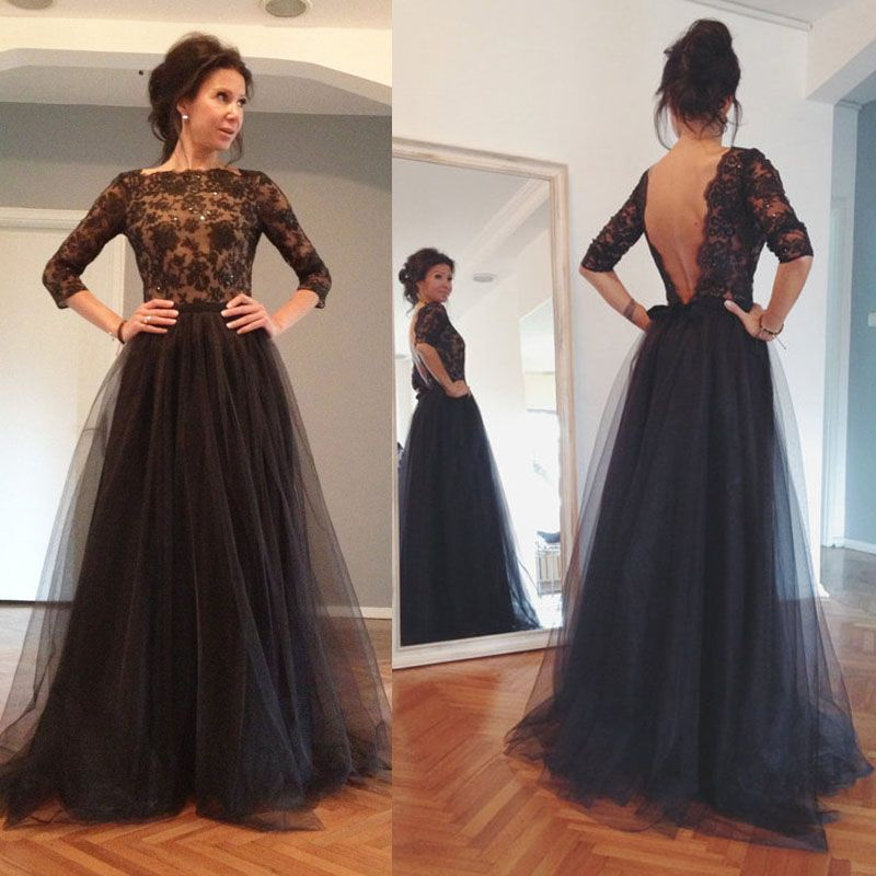 New Arrival Black Prom Dress With Appliques A Line Tulle Evening Dress,Beaded Long Sleeve Formal Par on Luulla