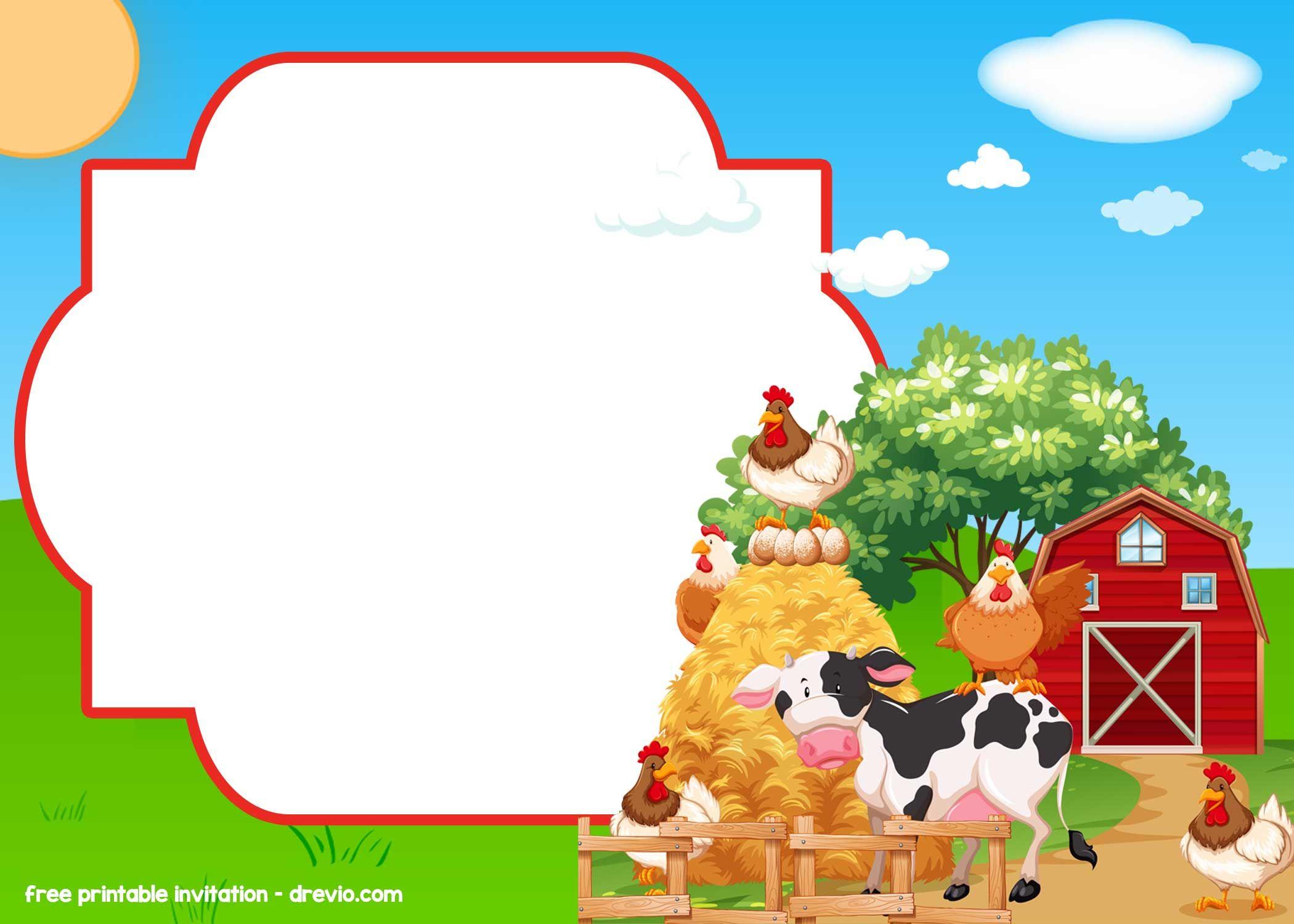 free farm barnyard invitation