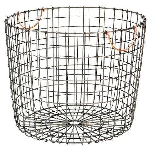 Attractive Extra Large Round Wire Decorative Storage Bin   Antique Pewter With Copper  Handle   Threshold™