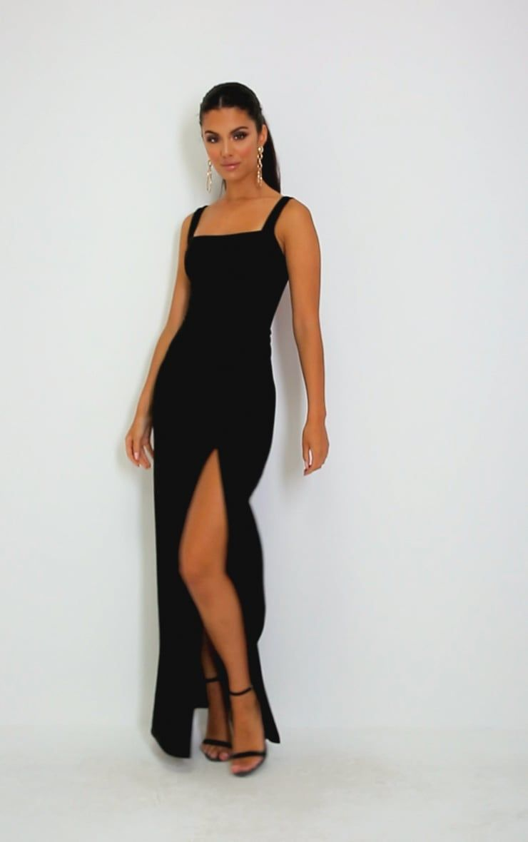 Black Straight Neck Maxi Dress Dresses Classy Going Out Outfits Night Out Dress Classy [ 1180 x 740 Pixel ]