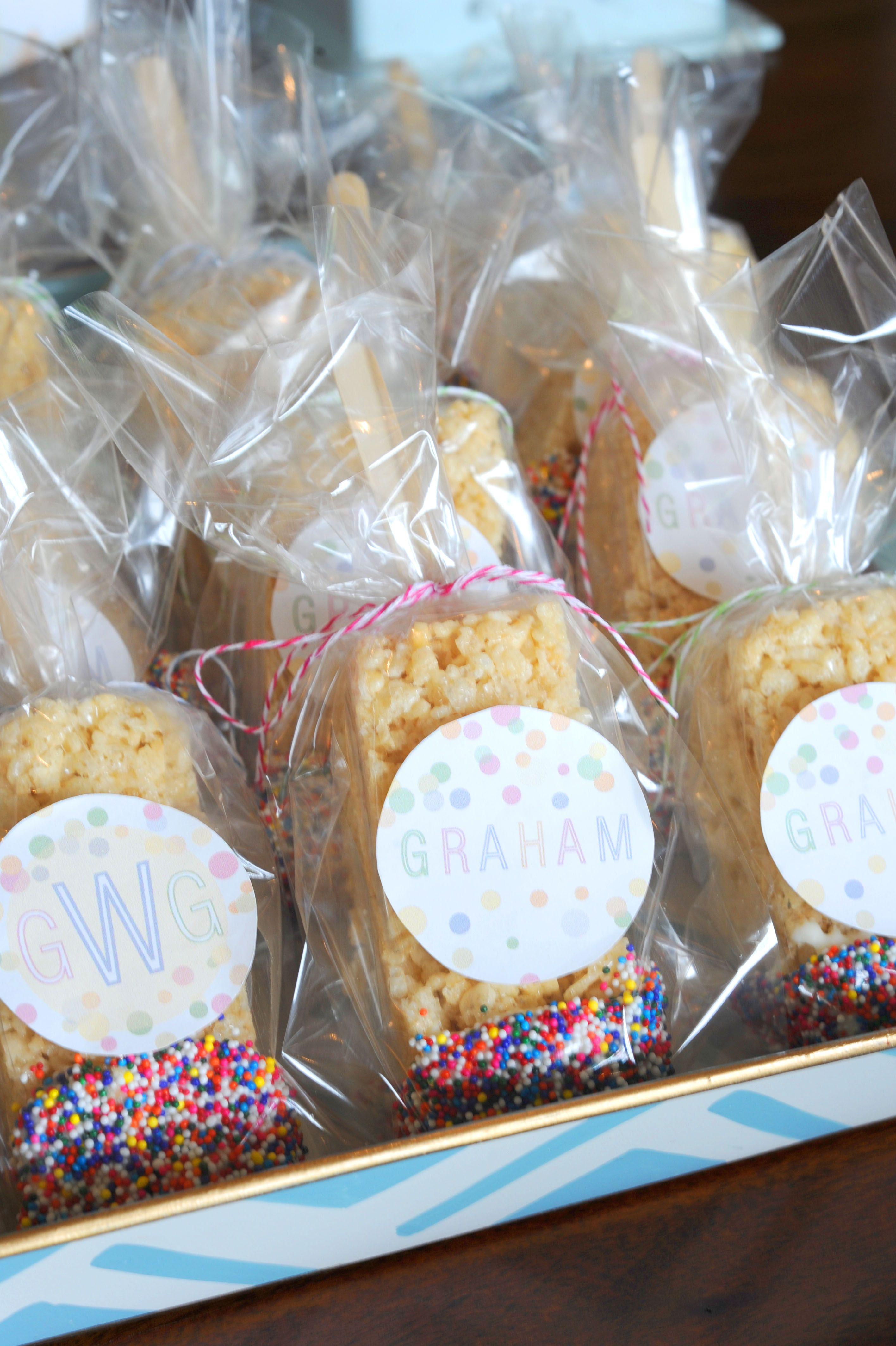 Baby shower rice krispy treat ideas - Baby Sprinkle Rice Krispies On A Stick Dipped In Sprinkles