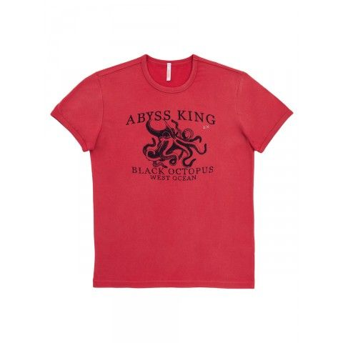 A vintage graphic octopus on this red T-shirt SUN68 Man SS15 #SUN68 #SS15 #man #tshirt