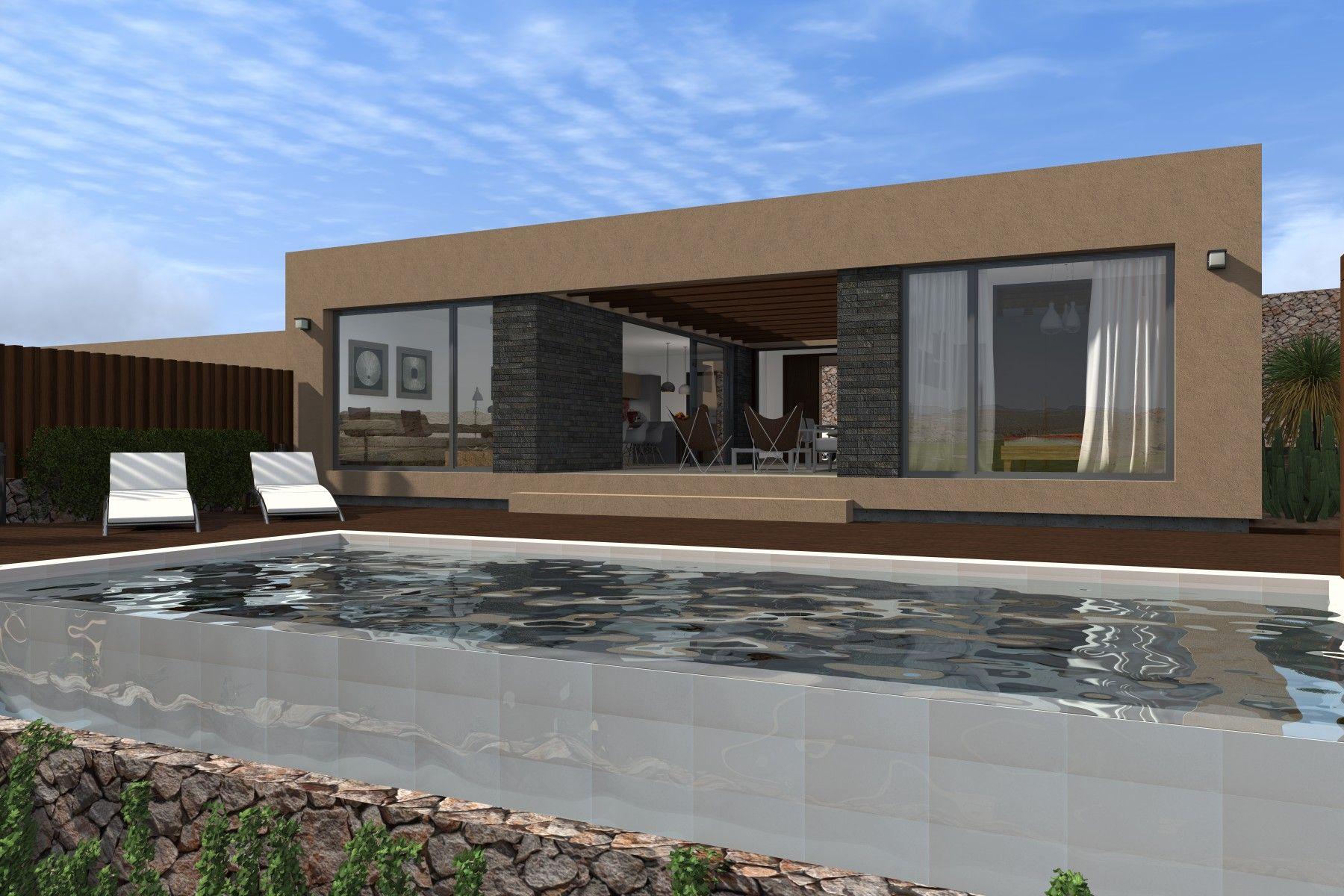 Vista 3D exterior de la villa tipo de 1 planta.  #3d #architecture3d #artlantis #Archicad #model3d #design3d #render #rendering #3dmodel #3ddesign #renderings #Photoshop