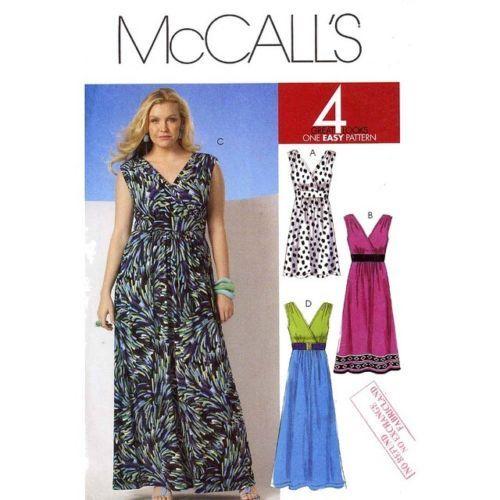 McCall\'s Pattern 6073 Plus Size Women\'s Knit Maxi Dress sizes 18-24 ...