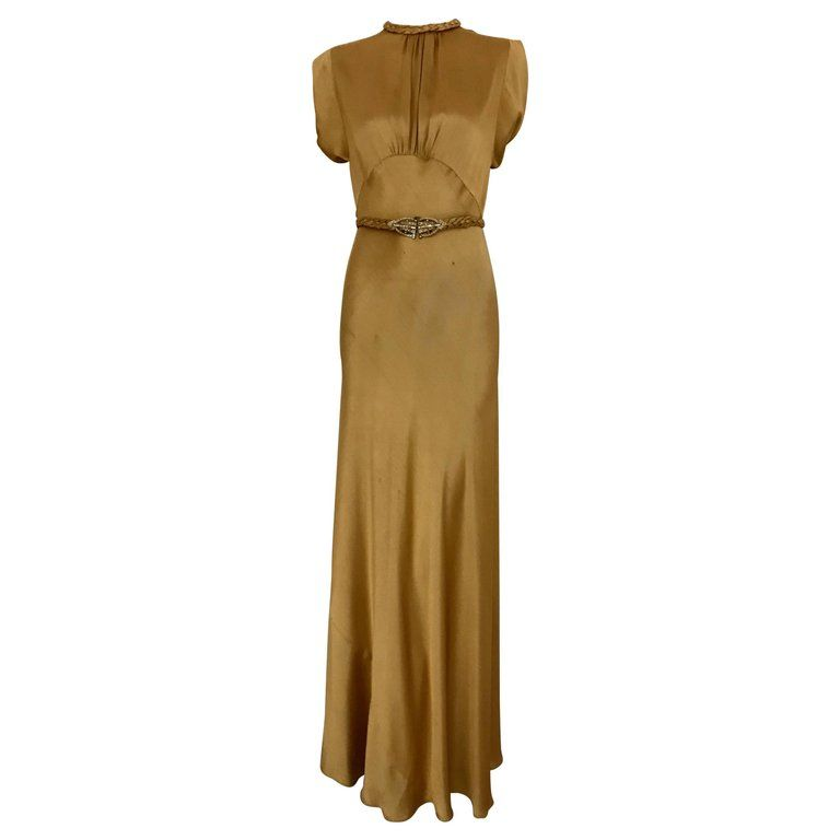 1930s Old Hollywood Glamour Gold Satin Gown with Belt | From a ...