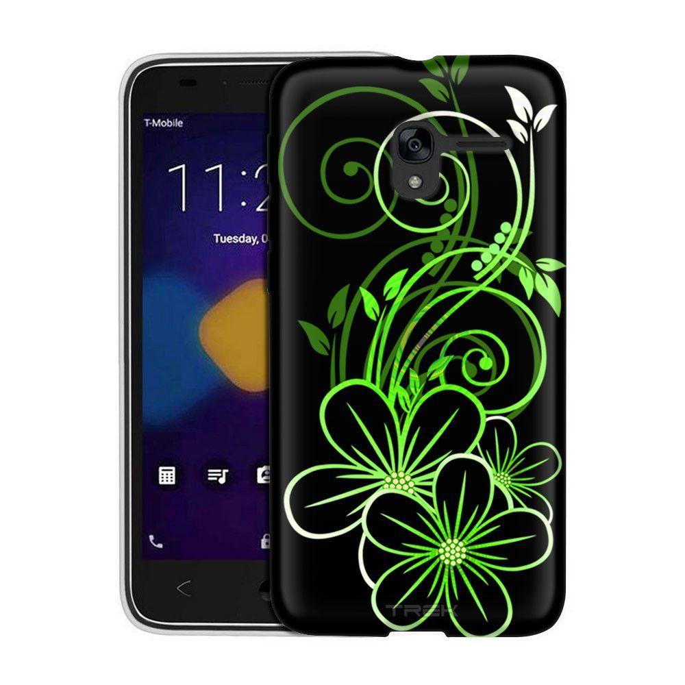 Alcatel TRU Sketch of a Flower Green on Black Slim Case