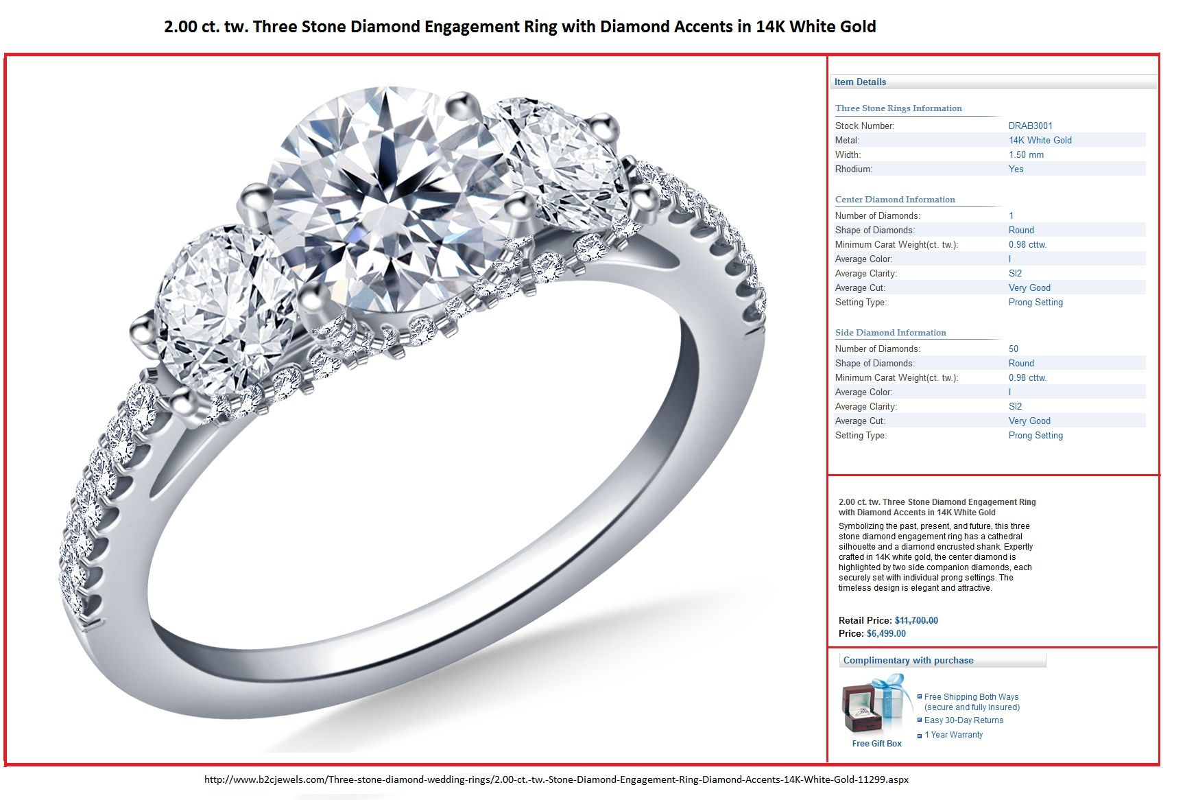 2 00 Ct Tw Three Stone Diamond Engagement Ring With Diamond Accents In 14k Three Stone Engagement Rings Three Stone Diamond Rings Engagement Engagement Rings