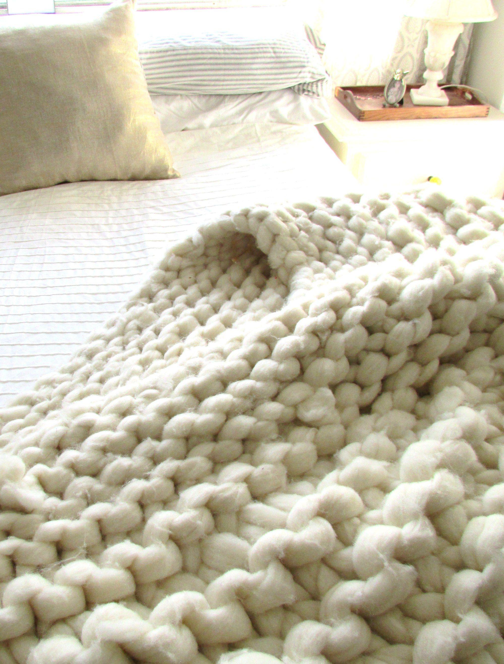 Chunky knit wool blanket tejido telar y manta for Manta punto gordo