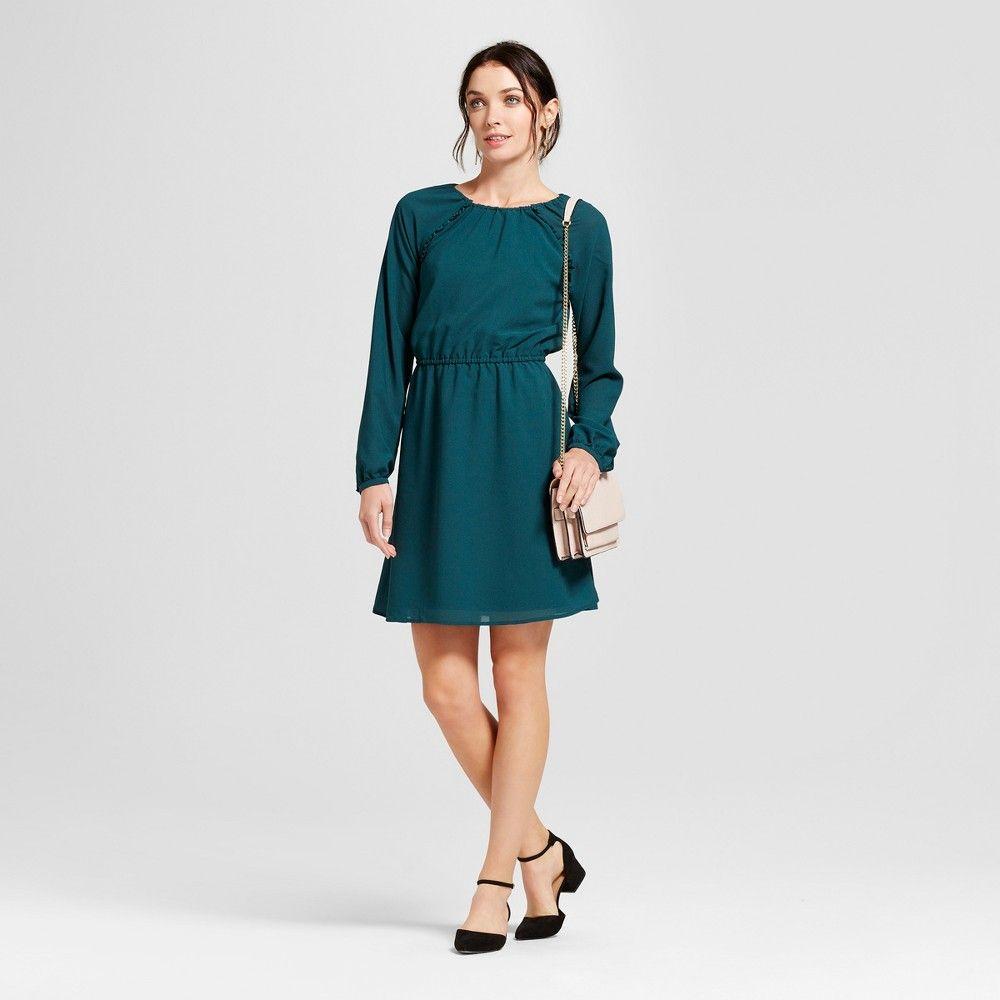 8c3e017ed01 Women s Ruffle Dress - A New Day Dark Green S