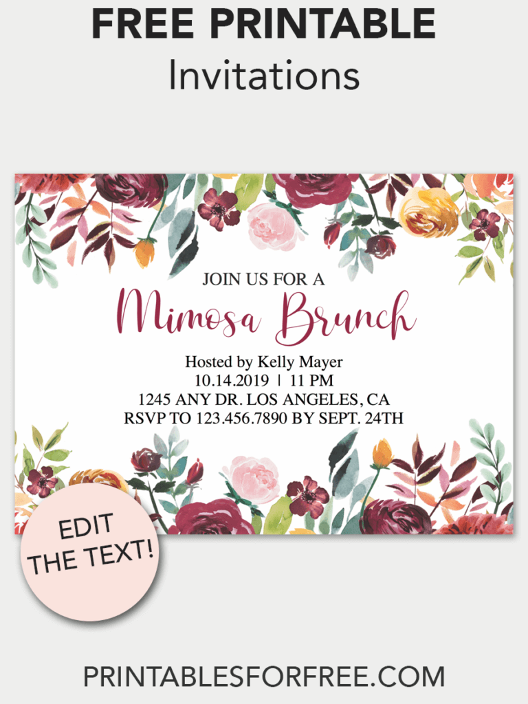fall floral printable invitation free printable invitations