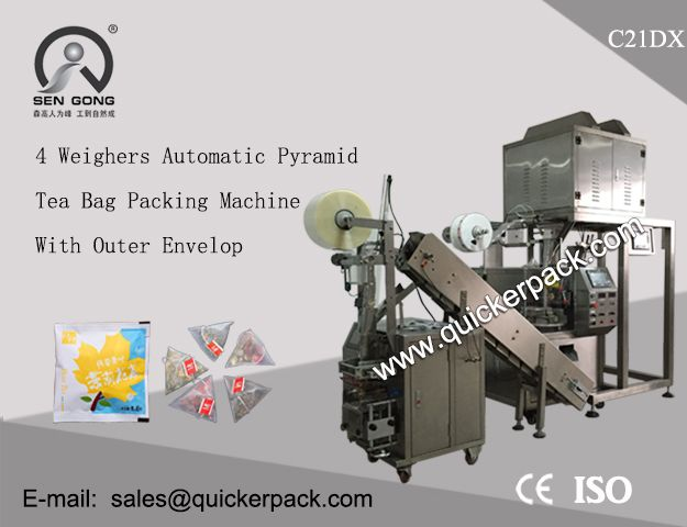 C21dx Automatic Pyramid Tea Bag Packing Machine With Outer