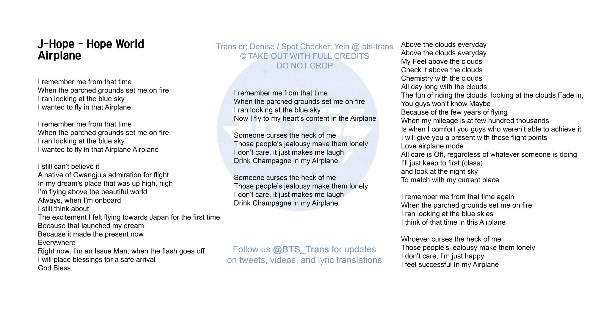 Bts S J Hope Airplane English Translation Bts Trans On