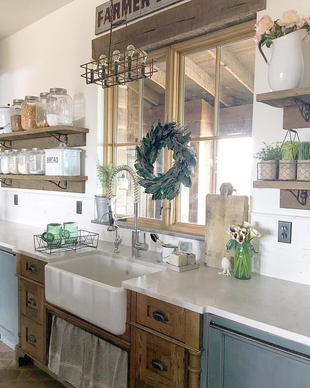 Farmhouse A Sink With Oak Cabinetry And Mismatched Blue