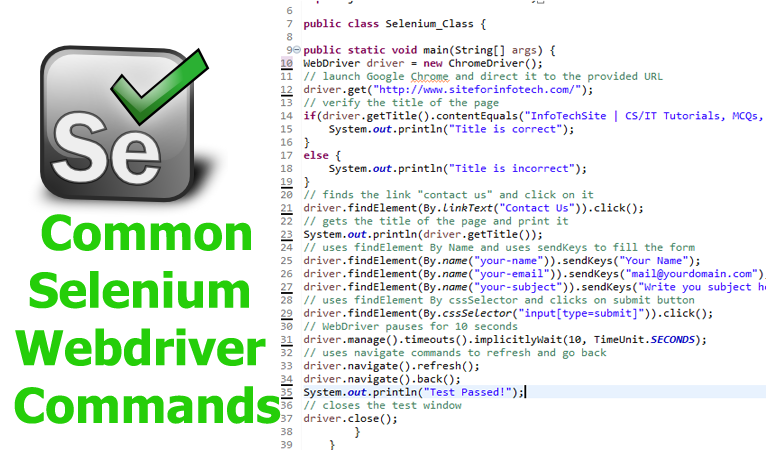 Selenium Webdriver Commands Required For Automated Testing Selenium Software Testing Automation