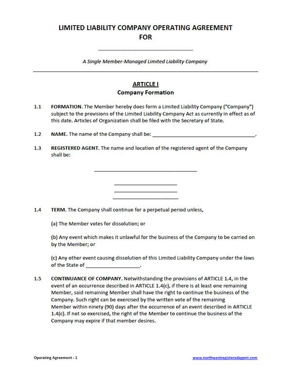 Free Single Member LLC Operating Agreement Template Business