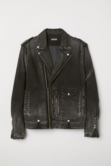 Denim Biker Jacket Black/washed Men H&M US Denim