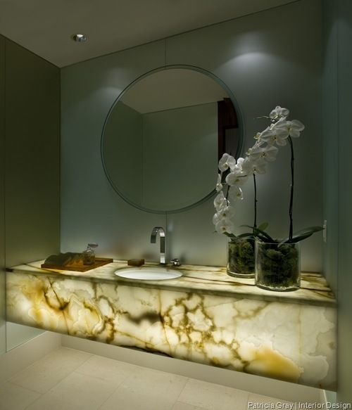 Onyx Vanity Counter With Under-lighting... No Need For Extra Accessories, Or A Frou-frou Mirror