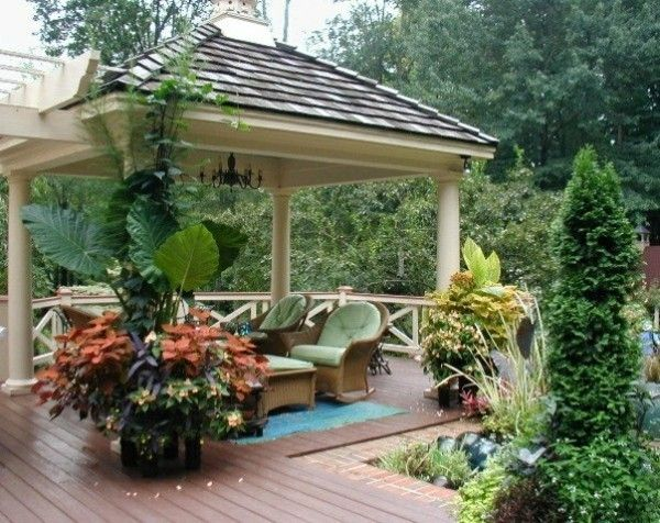 Examples Of Modern Garden Design Gazebo Seating Plants Garden