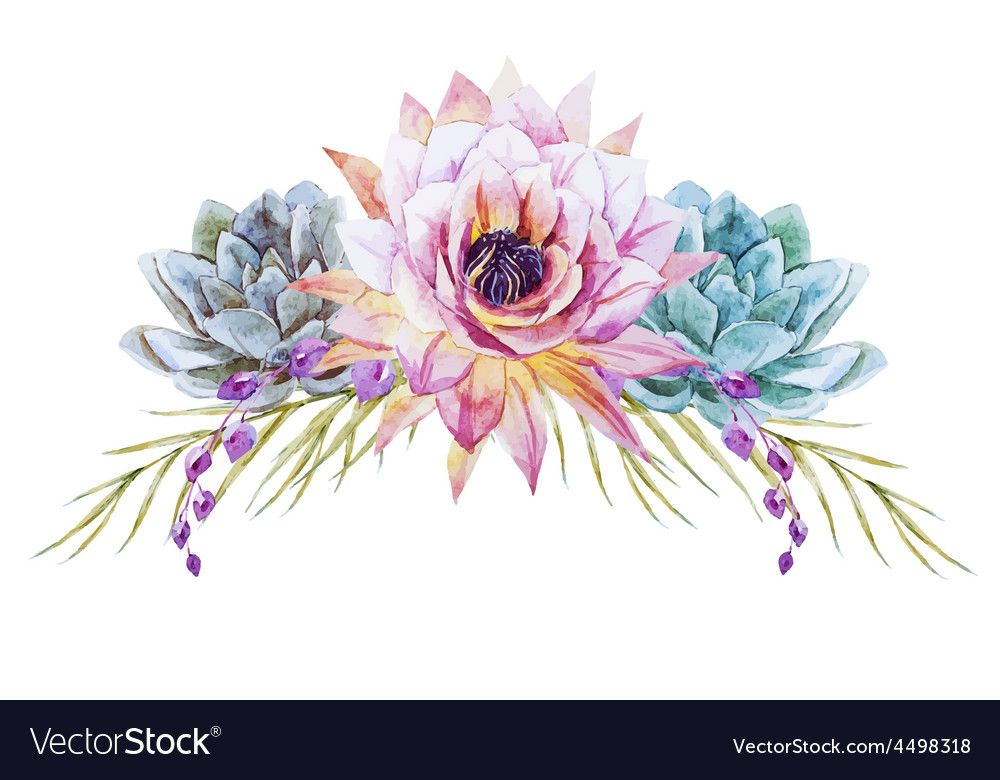 Watercolor Tropical Flowers Vector Image On Free Watercolor