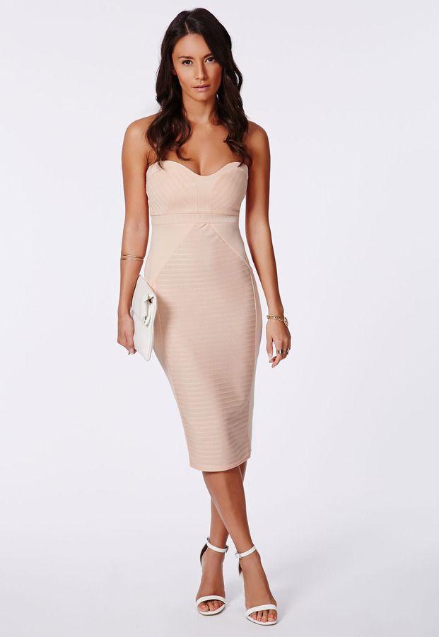 Nude Panelled Bandeau Bodycon Midi Dress Nude | #istyleuk #Fashion ...
