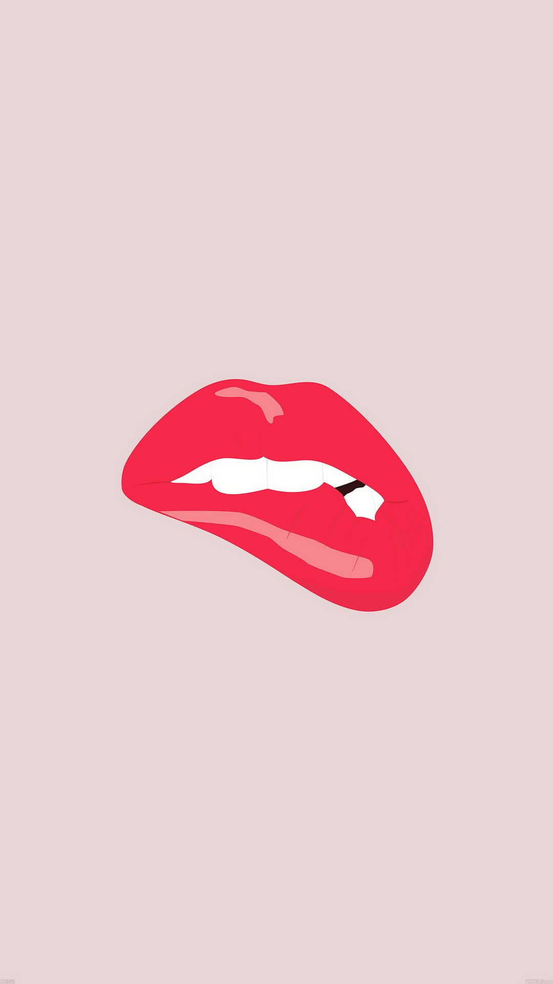 Minimal Red Biting Lips Iphone Wallpaper Lips Art Collage Wall