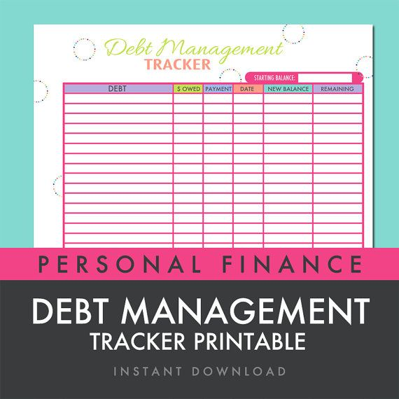 Debt Management Tracker Worksheet Printable INSTANT DOWNLOAD by