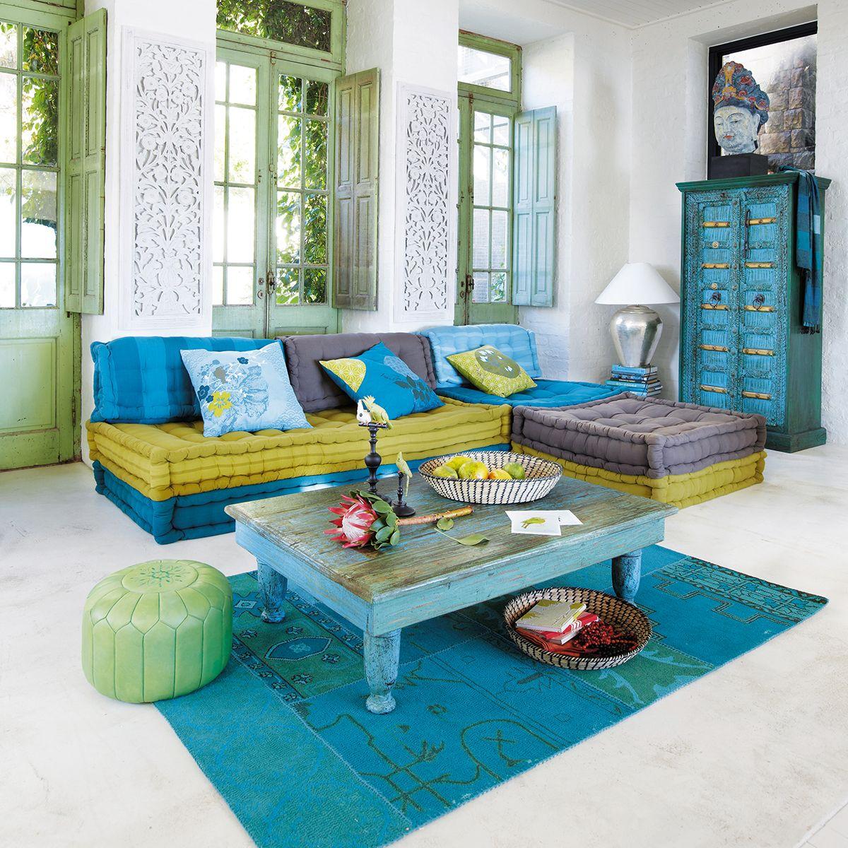 banquette d 39 angle modulable 6 places en coton bleue et. Black Bedroom Furniture Sets. Home Design Ideas