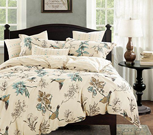 French Country Shabby Cottage Roses Bird King Teal Duvet Cover Set French Country Home Decor French Country Furniture Teal Duvet Cover Shabby Cottage