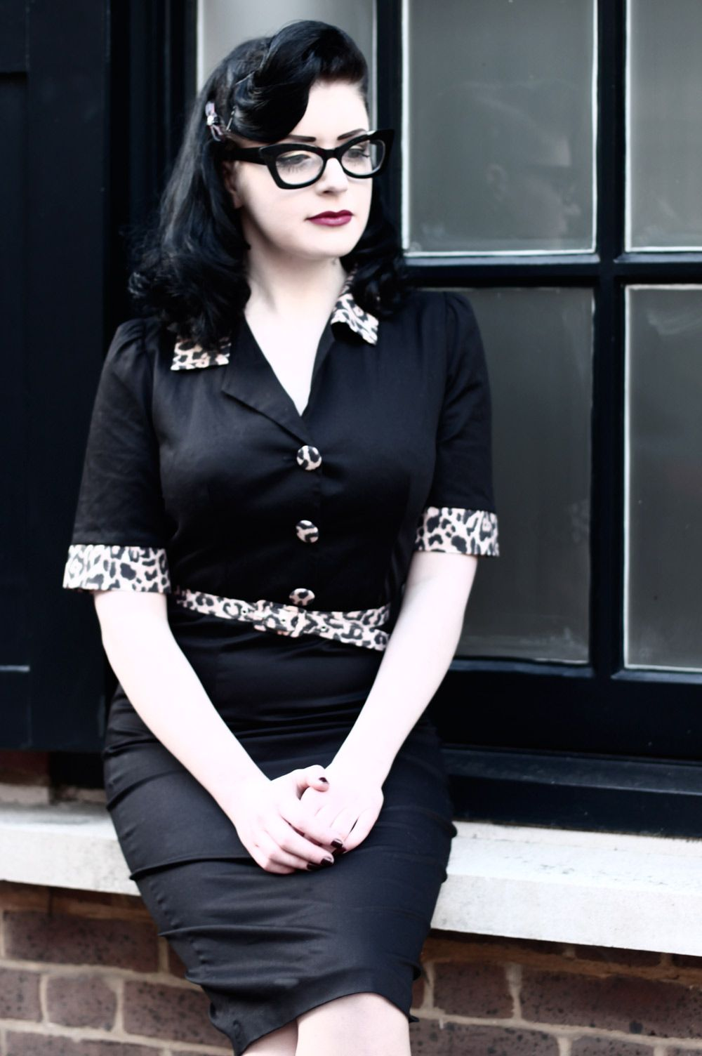 Tara Starlet 1940s 40s Style: Black Tara Starlet Dress With Leopard Print Details. Love