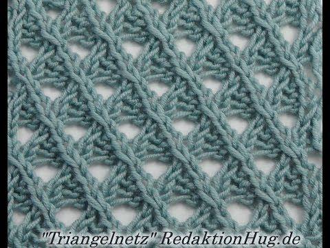 Stricken - Ajourmuster Triangelnetz   Knitting Tutorial   Pinterest ...