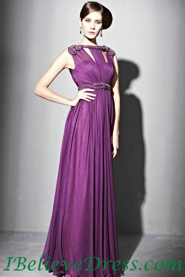 Chiffon High Neck Long Formal Evening Dress Floor Length Patterns ...