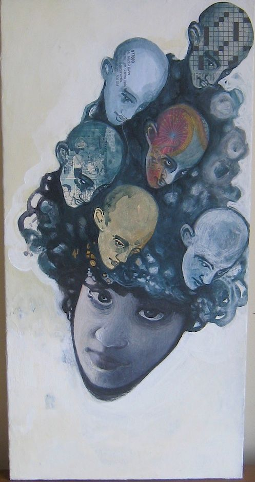 Coiffure from Daydreams of You  50cm x 25cm  Collage, acrylics, oil and ink on canvas board