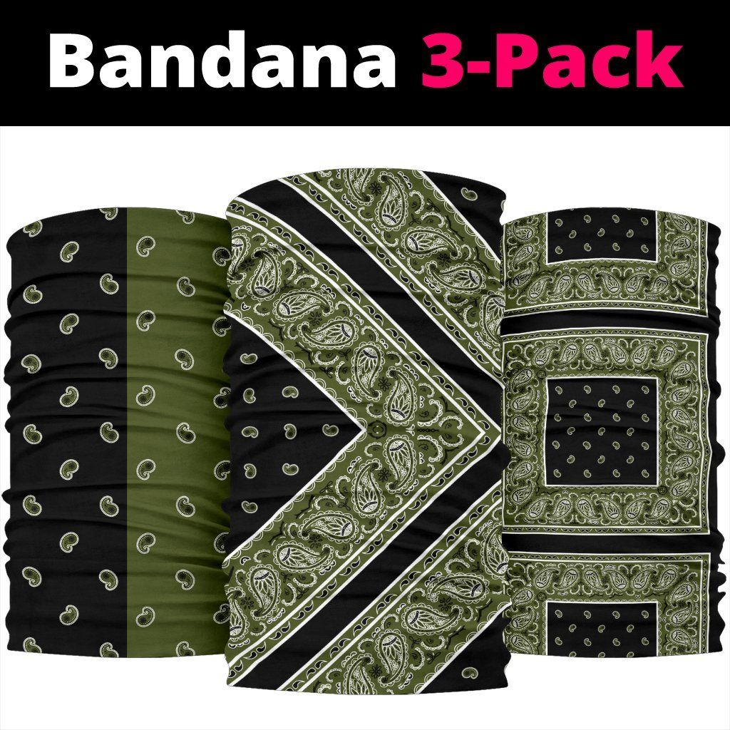Army and Black Bandana Headbands 3 Pack – Army and Black Bandana Headbands 3 Pack