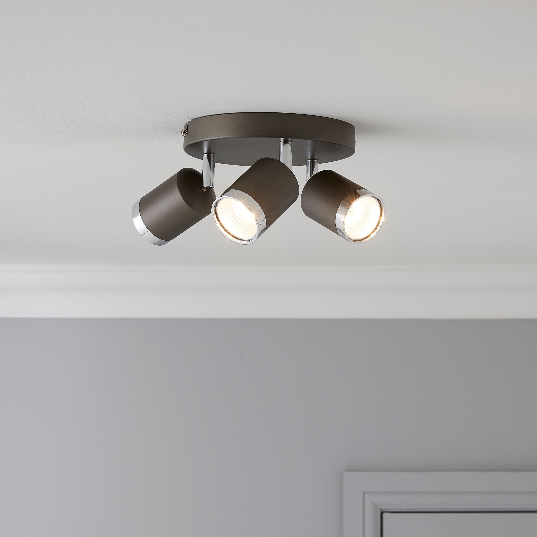 Arvon Titan Chrome Effect 3 Lamp Ceiling Spotlight
