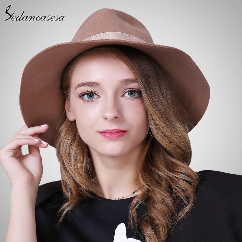 c4658113c7855 Brand Spring Fashion Wide Brim Australian Wool Felt Hat Black Khaki Ladies  Women s Elegant Hats Wholesale Fedora Caps Like it   shop  beauty  Woman s  ...