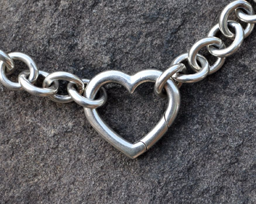 d4ada1ab4d5a6 SOLD - Tiffany and Co Open Heart Clasp Necklace, Sterling Silver 16 ...
